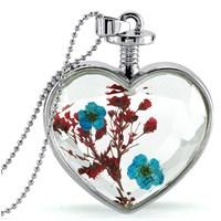 Güven Altın Yaşayan Kolye Kristal Cam İçinde Kurutulmuş Çiçekler Yk62