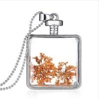 Güven Altın Yaşayan Kolye Kristal Cam İçinde Kurutulmuş Çiçekler Yk4