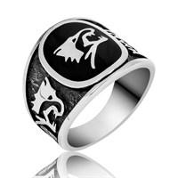 Tekbir Silver Gümüş Siyah Mineli Kurt Figürlü Yüzük