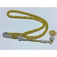 Arjuna Sarı Sıkma Kehribar Kapsül Kesim Altın Kaplama Kazaz Kamçılı Tesbih
