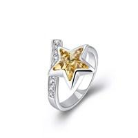 Monemel Sarı Swarovski Taşlı Yıldız Yüzük
