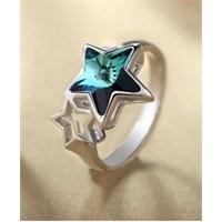 Monemel Mavi Swarovski Taşlı Yıldız Yüzük - R0127