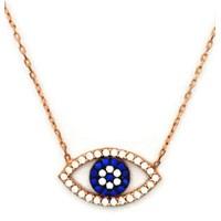 Beyazıt Takı 925 Ayar Gümüş Beyaz Taşlı Göz Kolyesi