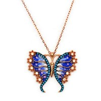 Beyazıt Takı 925 Ayar Gümüş Turkuaz Mavi Çiçek Kanatlı Kelebek Kolyesi