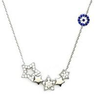 Beyazıt Takı 925 Ayar Gümüş Nazar Boncuklu Beş Yıldızlı Kolye