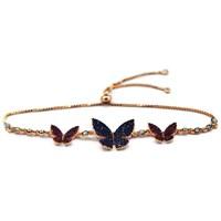 Beyazıt Takı 925 Ayar Gümüş Pembe Mavi Taşlı Kelebek Bileklik