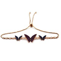 Beyazıt Takı 925 Ayar Gümüş Pembe Mavi Kelebek Bileklik