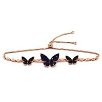 Beyazıt Takı 925 Ayar Gümüş Mavi Siyah Kelebek Bileklik