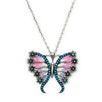 Beyazıt Takı 925 Ayar Gümüş Turkuaz Pembe Çiçek Kanatlı Kelebek Kolyesi