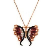 Beyazıt Takı 925 Ayar Gümüş Siyah Kırmızı Çiçek Kanatlı Kelebek Kolyesi