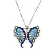 Beyazıt Takı 925 Ayar Gümüş Mavi Çiçek Kanatlı Kelebek Kolyesi