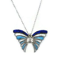 Beyazıt Takı 925 Ayar Gümüş Mavi Mineli Kelebek Kolyesi
