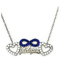 Beyazıt Takı 925 Ayar Gümüş Mavi Meleğim Yazılı Kalpli Kolye