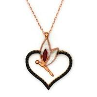Beyazıt Takı 925 Ayar Gümüş Siyah Kalpli Yusufçuk Kolyesi