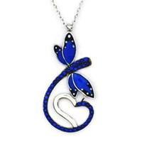 Beyazıt Takı 925 Ayar Gümüş Mavi Kalpli Yusufçuk Kolye