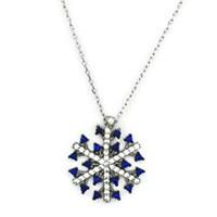 Beyazıt Takı 925 Ayar Gümüş Mavi Zirkon Taşlı Kar Tanesi Kolyesi