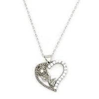 Beyazıt Takı 925 Ayar Gümüş Beyaz Taşlı Kalbimin Gülü Kolyesi