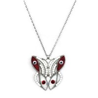 Beyazıt Takı 925 Ayar Gümüş Beyaz Taşlı Kırmızı Mineli Kelebek Kolye