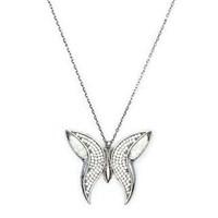 Beyazıt Takı 925 Ayar Gümüş Beyaz Taşlı Sedefli Kelebek Kolye