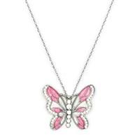 Beyazıt Takı 925 Ayar Gümüş Pembe Sedefli Kelebek Kolye