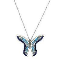 Beyazıt Takı 925 Ayar Gümüş Taşlı Sedefli Kelebek Kolye
