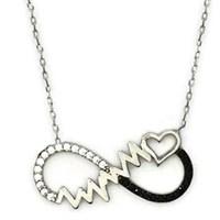 Beyazıt Takı 925 Ayar Gümüş Siyah Kalp Ritimli Sonsuzluk Kolyesi