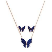 Beyazıt Takı 925 Ayar Gümüş Mavi Kelebek Küpe Kolye Set