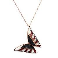 Beyazıt Takı 925 Ayar Gümüş Üç Boyutlu Mine Siyah Taşlı Kelebek Kolyesi