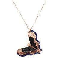 Beyazıt Takı 925 Ayar Gümüş Üç Boyutlu Mavi Siyah Kelebek Kolyesi