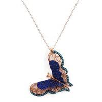 Beyazıt Takı 925 Ayar Gümüş Üç Boyutlu Turkuaz Mavi Kelebek Kolyesi