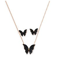 Beyazıt Takı 925 Ayar Gümüş Siyah Kelebek Kolye Küpe Set