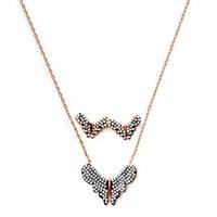 Beyazıt Takı 925 Ayar Gümüş Beyaz Kelebek Küpe Kolye Seti