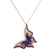 Beyazıt Takı 925 Ayar Gümüş Mavi Üç Boyutlu Fantazi Taşlı Kelebek Kolyesi