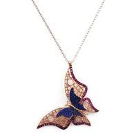 Beyazıt Takı 925 Ayar Gümüş Pembe Mavi Üç Boyutlu Fantazi Taşlı Kelebek Kolyesi