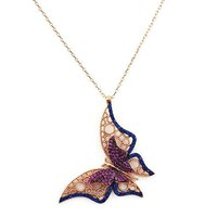 Beyazıt Takı 925 Ayar Gümüş Mavi Pembe Üç Boyutlu Fantazi Taşlı Kelebek Kolyesi