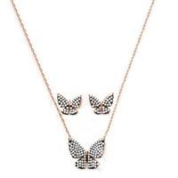 Beyazıt Takı 925 Ayar Gümüş Beyaz Küpe Kolye Kelebek Seti