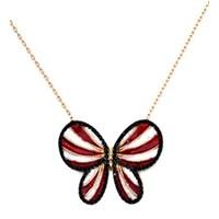Beyazıt Takı 925 Ayar Gümüş Siyah Kırmızı Kelebek Kolye