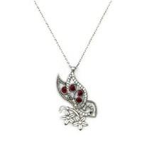 Beyazıt Takı 925 Ayar Gümüş Zirkon Beyaz Kırmızı Taşlı Çiçekli Kelebek Kolyesi