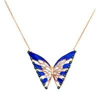 Beyazıt Takı 925 Ayar Gümüş Turkuaz Mavi Taşlı Kelebek Kolye