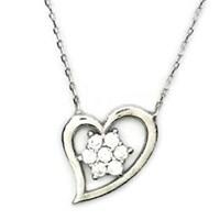 Beyazıt Takı 925 Ayar Gümüş Beyaz Kar Taneli Kalpli Kolye