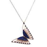 Beyazıt Takı 925 Ayar Gümüş Mavi Pembe Taşlı Üç Boyutlu Kelebek Kolyesi