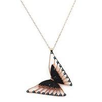 Beyazıt Takı 925 Ayar Gümüş Siyah Turkuaz Taşlı Üç Boyutlu Kelebek Kolyesi