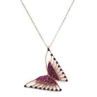 Beyazıt Takı 925 Ayar Gümüş Pembe Taşlı Üç Boyutlu Kelebek Kolyesi