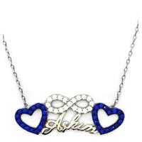 Beyazıt Takı 925 Ayar Gümüş Mavi Taşlı Sonsuzluk Kalpli Aşkım Kolyesi