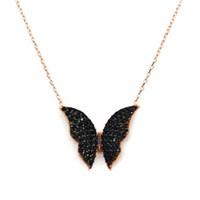 Beyazıt Takı 925 Ayar Gümüş Siyah Taşlı Kelebek Kolyesi