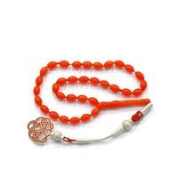 Beyazıt Takı Orange Renkli Arpa Kesim Sıkma Kehribar Tesbih