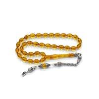 Beyazıt Takı Ayyıldız Gümüş Püsküllü Sarı Arpa Kesim Sıkma Kehribar