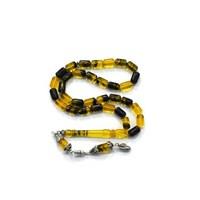 Beyazıt Takı Gümüş Püsküllü Sarı Siyah Hareli Sıkma Kehribar
