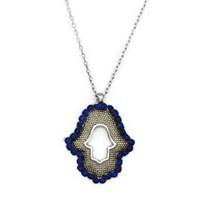 Beyazıt Takı 925 Ayar Gümüş Mavi Fatma Ana Eli Kolyesi
