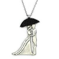 Beyazıt Takı 925 Ayar Gümüş Siyah Şemsiyeli Gelin Damat Kolyesi